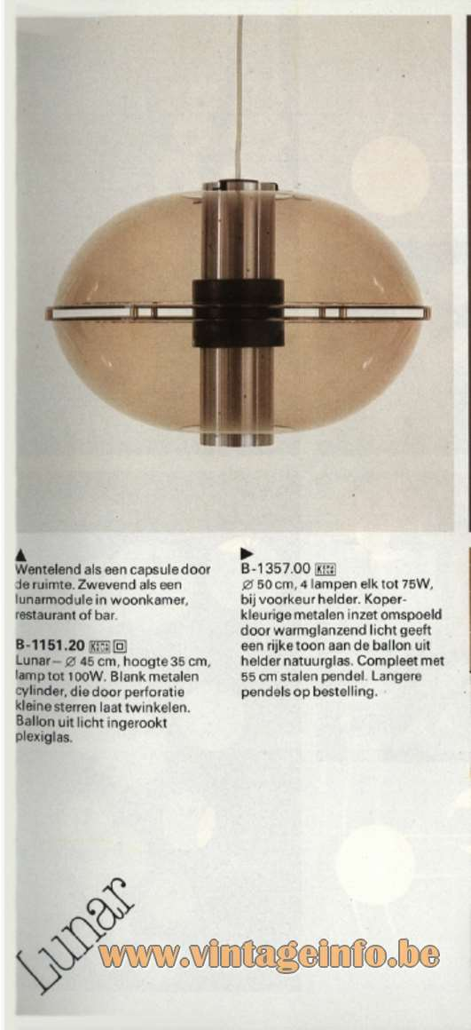 Raak Orbiter/Sphere Pendant Lamp - Raak Lunar - B-1151.20 - Catalogue 11 - 1978