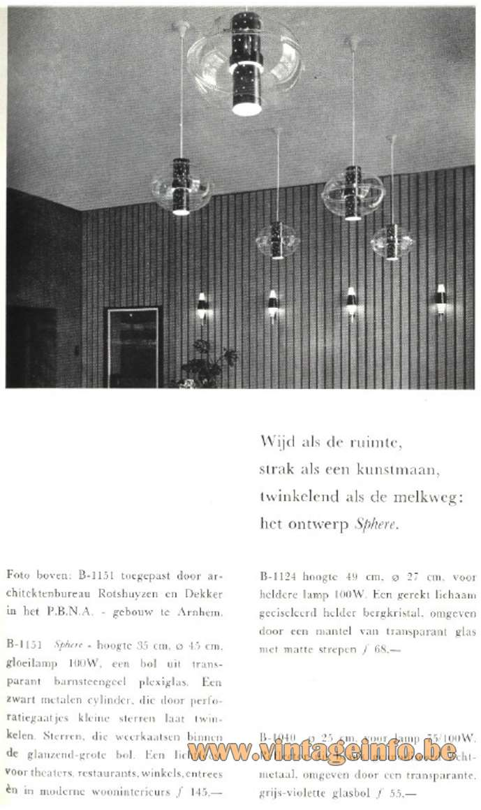 Raak Orbiter/Sphere Pendant Lamp - Raak Sphere - B-1151 - Catalogue 5 - 1962