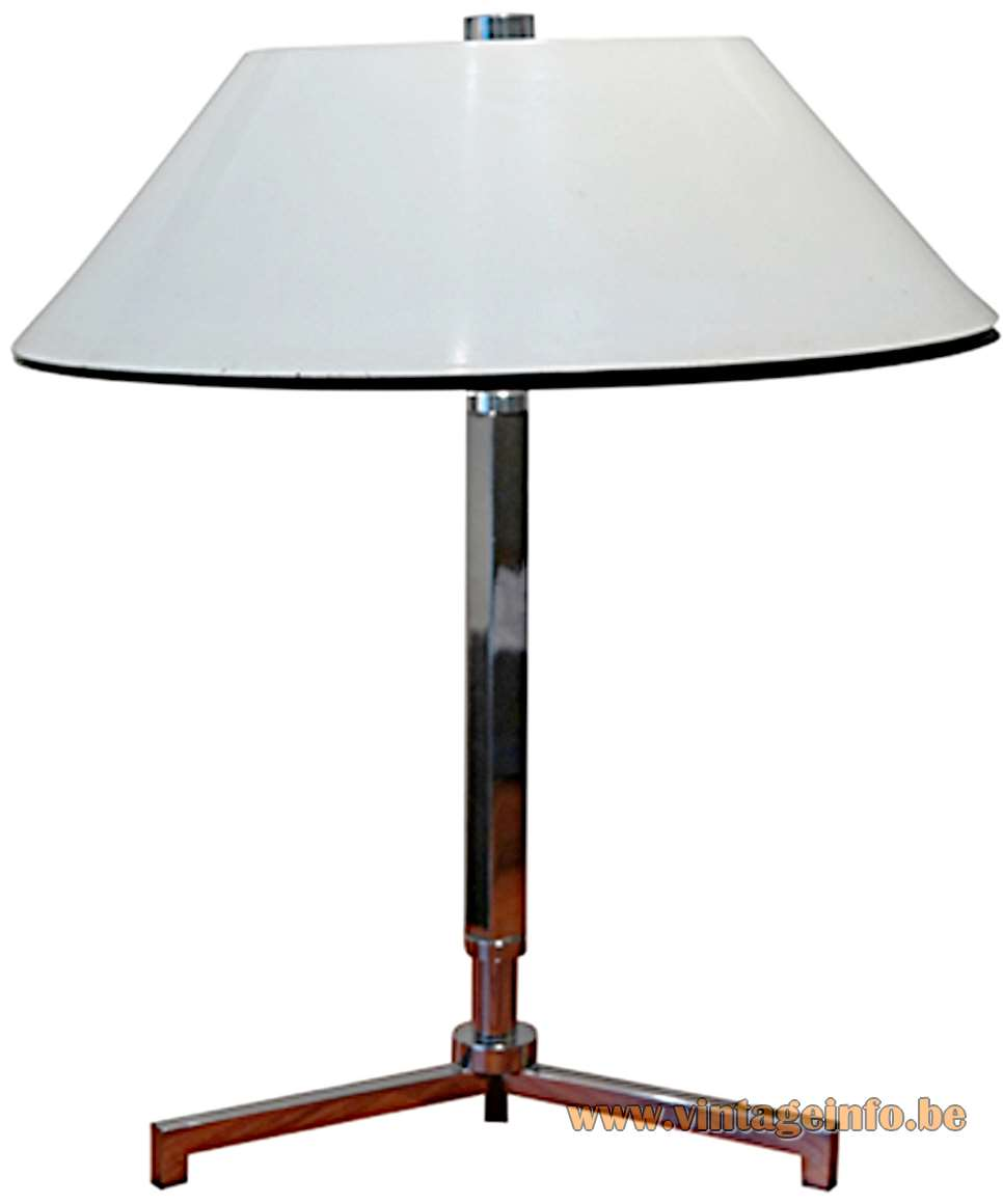 1960s Senior Style Desk Lamp - chrome black & opal acrylic lampshade