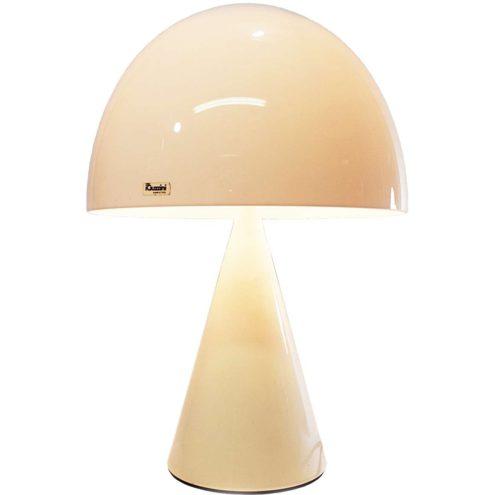iGuzzini Baobab table lamp conical white metal base white acrylic mushroom lampshade Harvey Guzzini 1970s 1980s