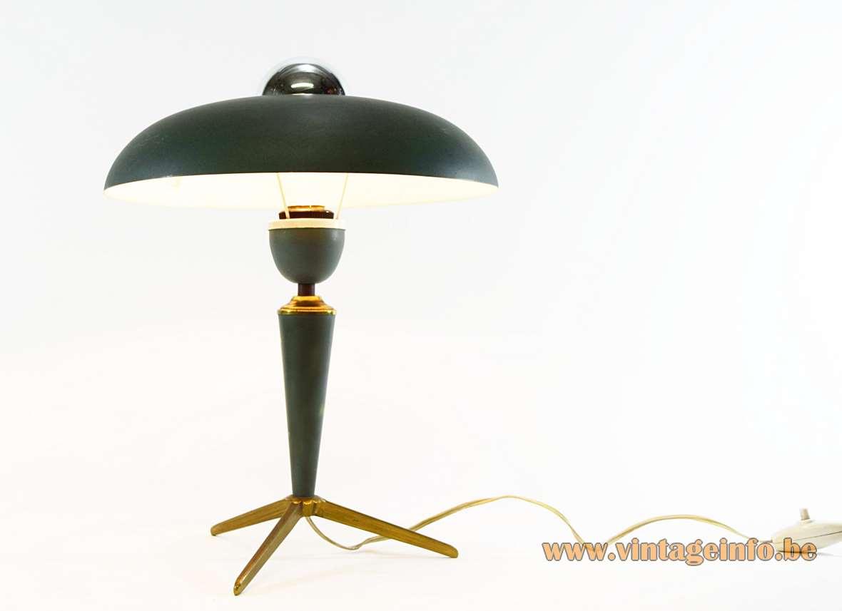 Louis Kalff table lamp brass tripod Bijou Philips dark green aluminium mushroom lampshade 1950s MCM Mid-Century Modern