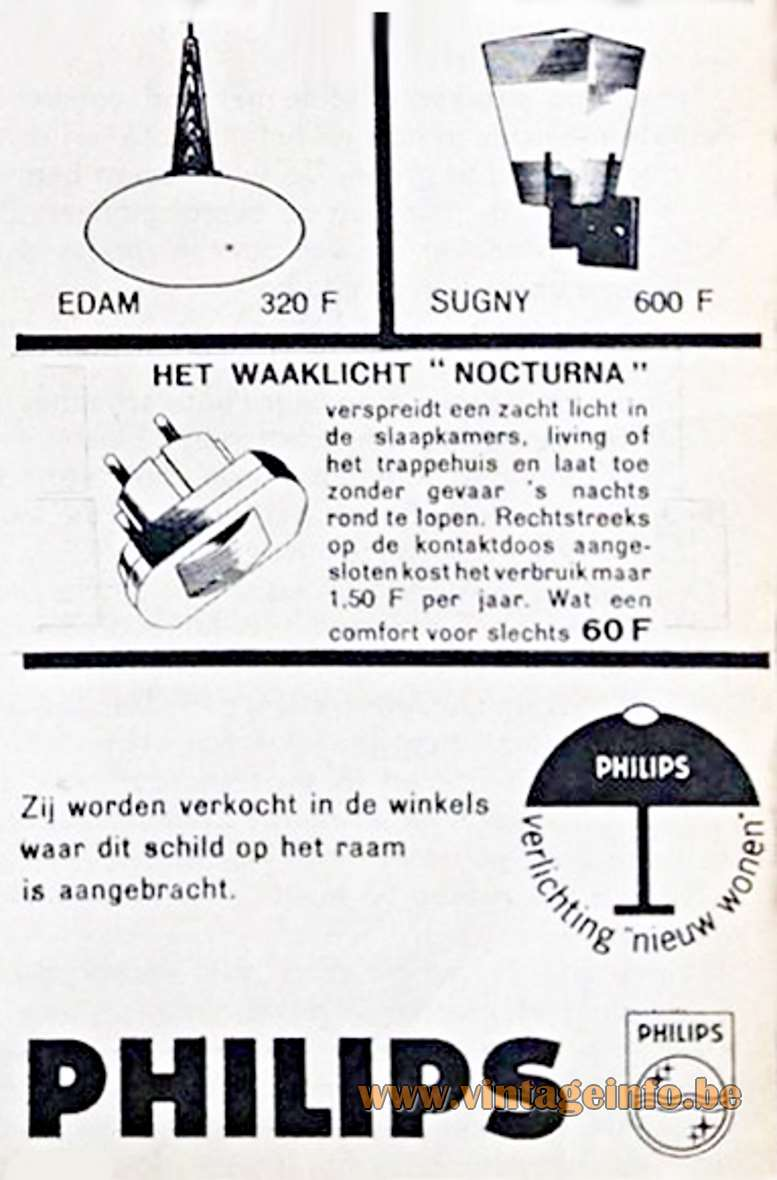 Philips 1963 Advertisement Edam Pendant Lamp - Belgium - Price 320 BEF, Belgium Francs, today 8 euro.