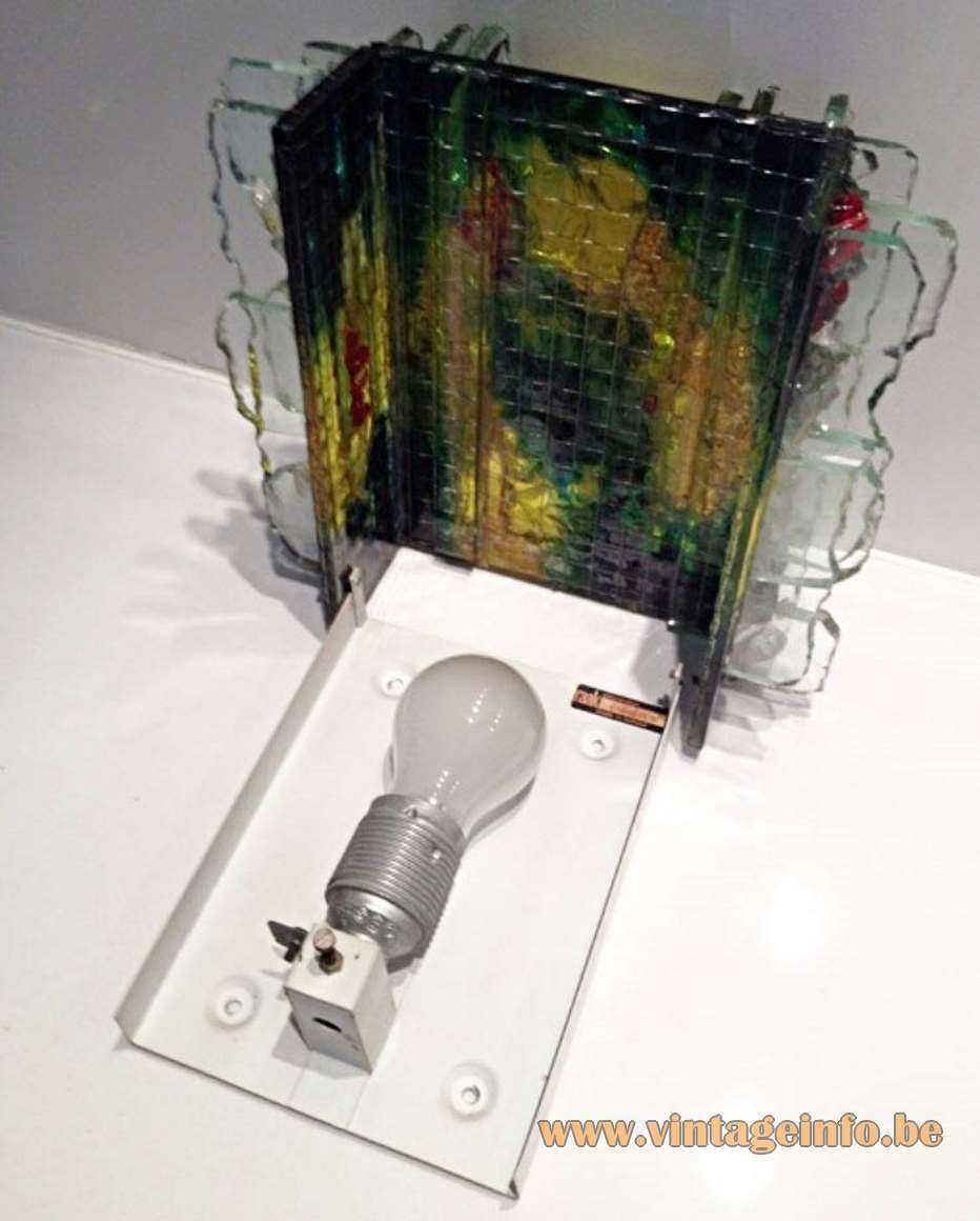 Raak Chartres Wall Lamp opened - inside, electric parts + label