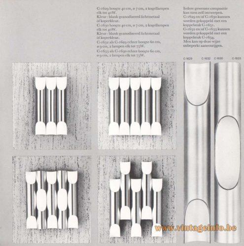 """Raak Fuga Wall Lamp - Design Maja Liisa Komulainen - Catalog 8, 1968 - Brushed aluminium """"organ"""" pipes"""