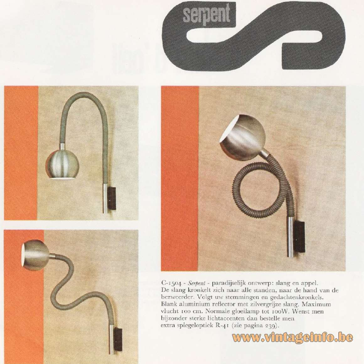 Raak Serpent Wall Lamp Catalague 8 - 1968