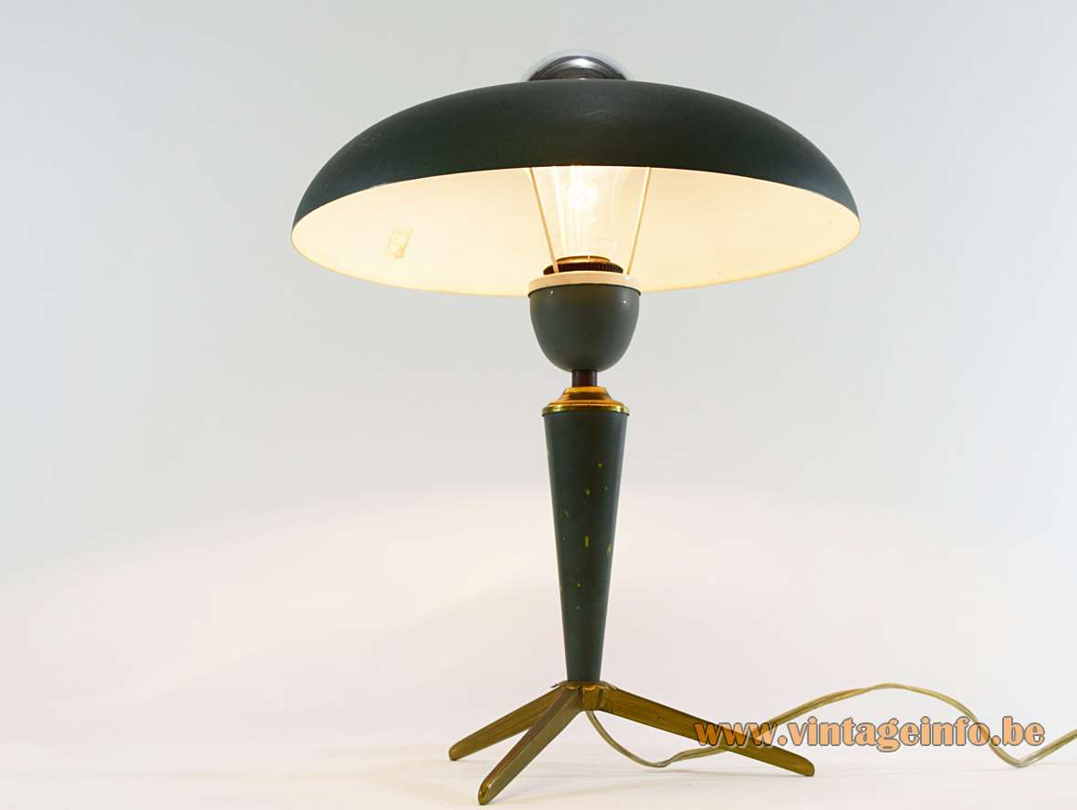 Louis Kalff Bijou Table Lamp dark green aluminium tripod brass 1950s Philips mushroom 1st edition MCM