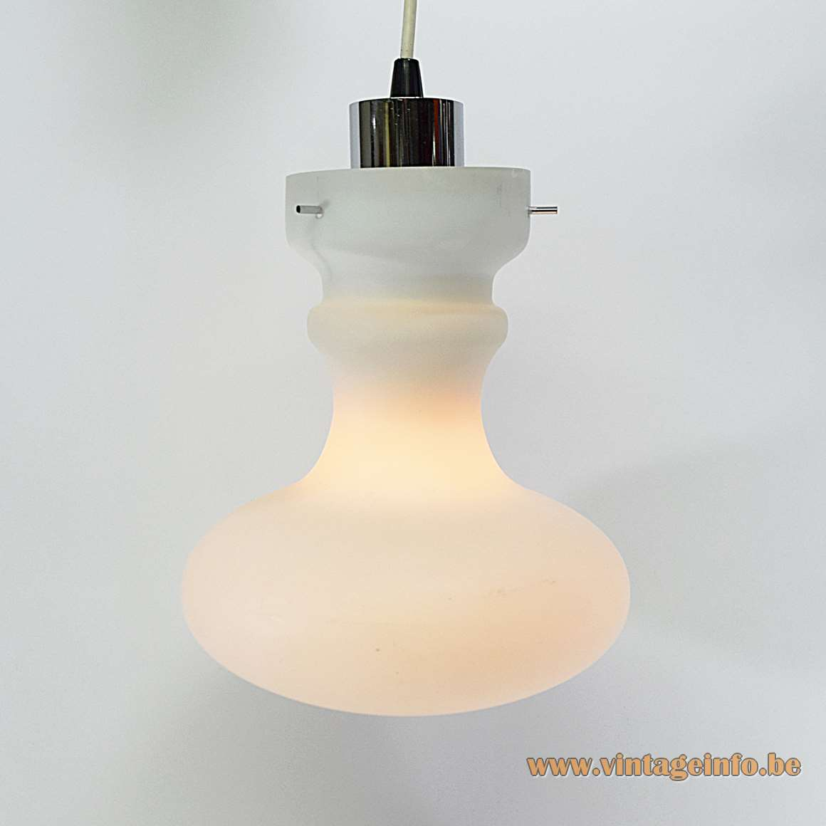 1970s Opal & Purple Pendant Lamp white glass acrylic lampshade chrome lampholder Massive 1960s MCM
