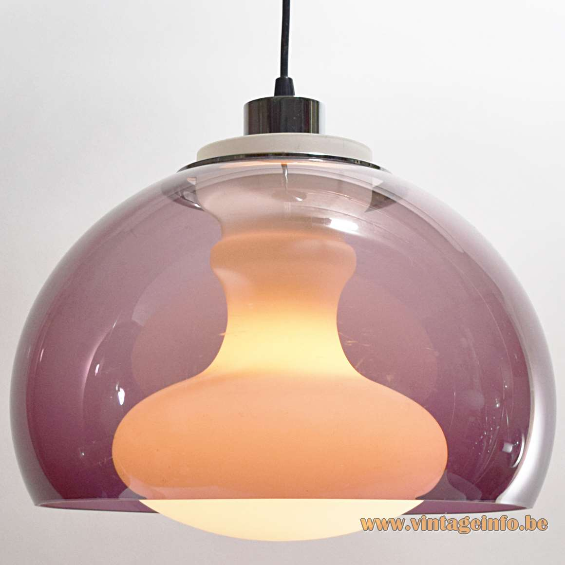 1970s Opal & Purple Pendant Lamp white glass acrylic lampshade chrome lampholder Massive 1960s MCM