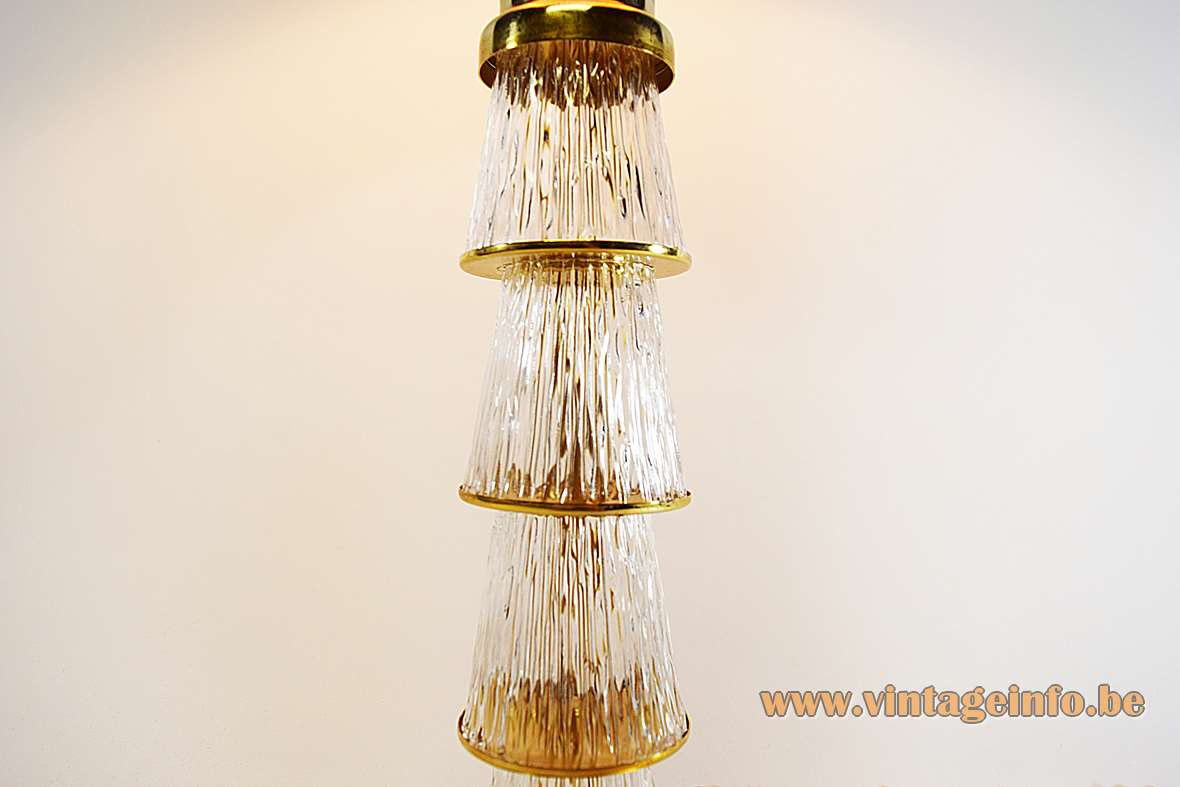 Crystal & brass table lamp with 4 embossed conical glass tubes and fabric lampshade 1960s 1970s