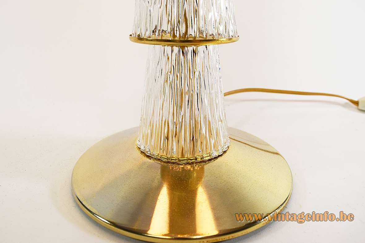 Crystal & Brass Table Lamp round brass base 4 embossed conical glass parts fabric lampshade 1960s 1970s MCM