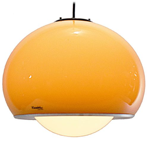 Guzzini pendant lamp Bud iGuzzini brown acrylic globe Harvey Guzzini Harveiluce Meblo 1960s 1970s MCM Mid-Century Modern