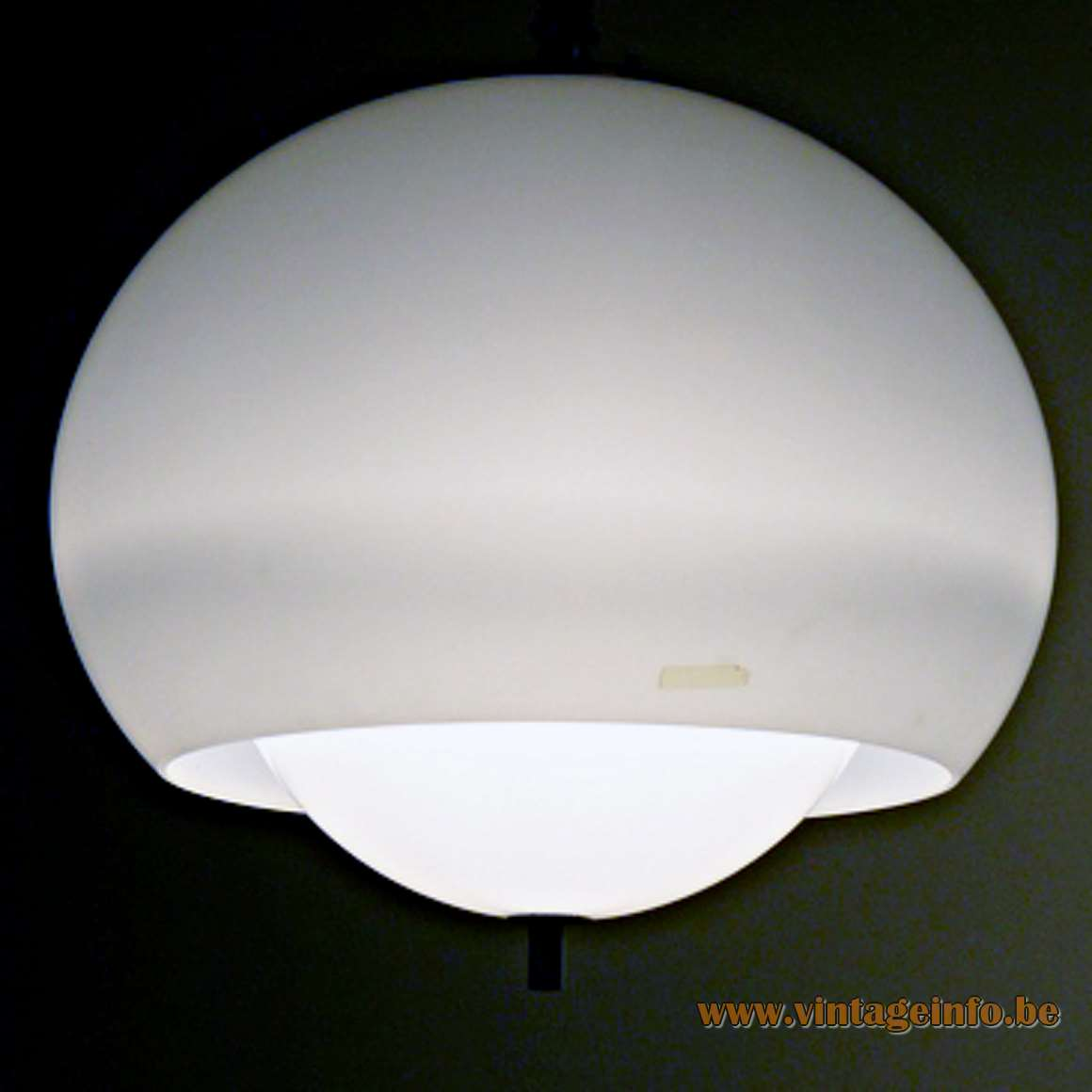 Harvey Guzzini Burgos Pendant Lamp rise & fall round acrylic perpex lampshade white diffuser 1970s small version