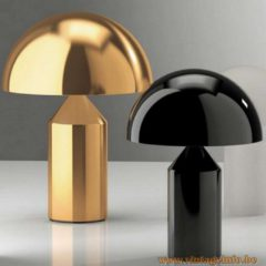Oluce Atollo Table Lamps, 1977 design by Vico Magistretti, Gold and Black version