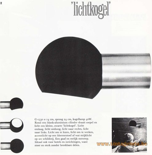 Raak Lichtkogel Wall Lamp - Catalogue 8 - 1968