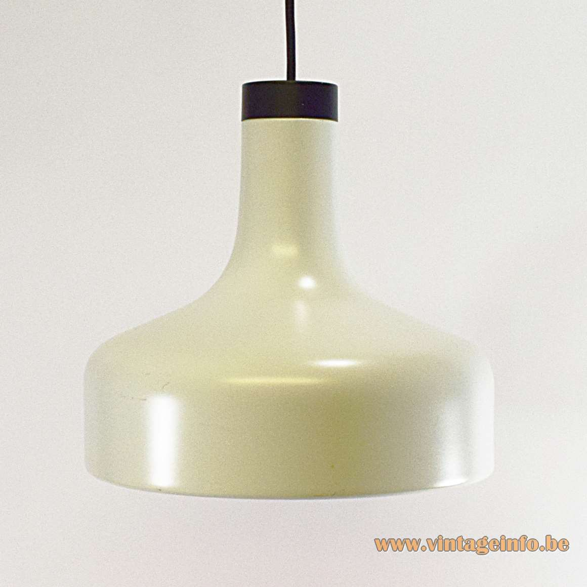 Staff Aluminium Pendant Lamp 5405 white 1970s mushroom black plastic top MCM