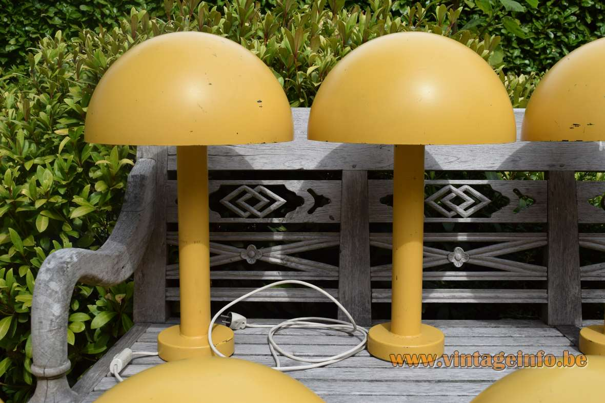 BEGA mushroom garden lamps 1970s aluminium white acrylic diffuser outdoor 9011 yellow Mid-Century Modern MCM E27 socket