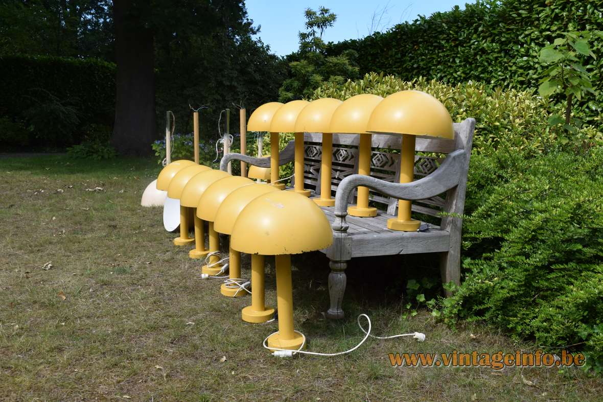 BEGA mushroom garden lamps 1970s yellow aluminium white acrylic diffuser E27 socket Germany vintage outdoor light
