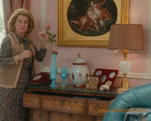Boulanger Ostrich Egg Table Lamp, brass, glass, prop Potiche (2010) Catherine Deneuve, Lamps in the movies