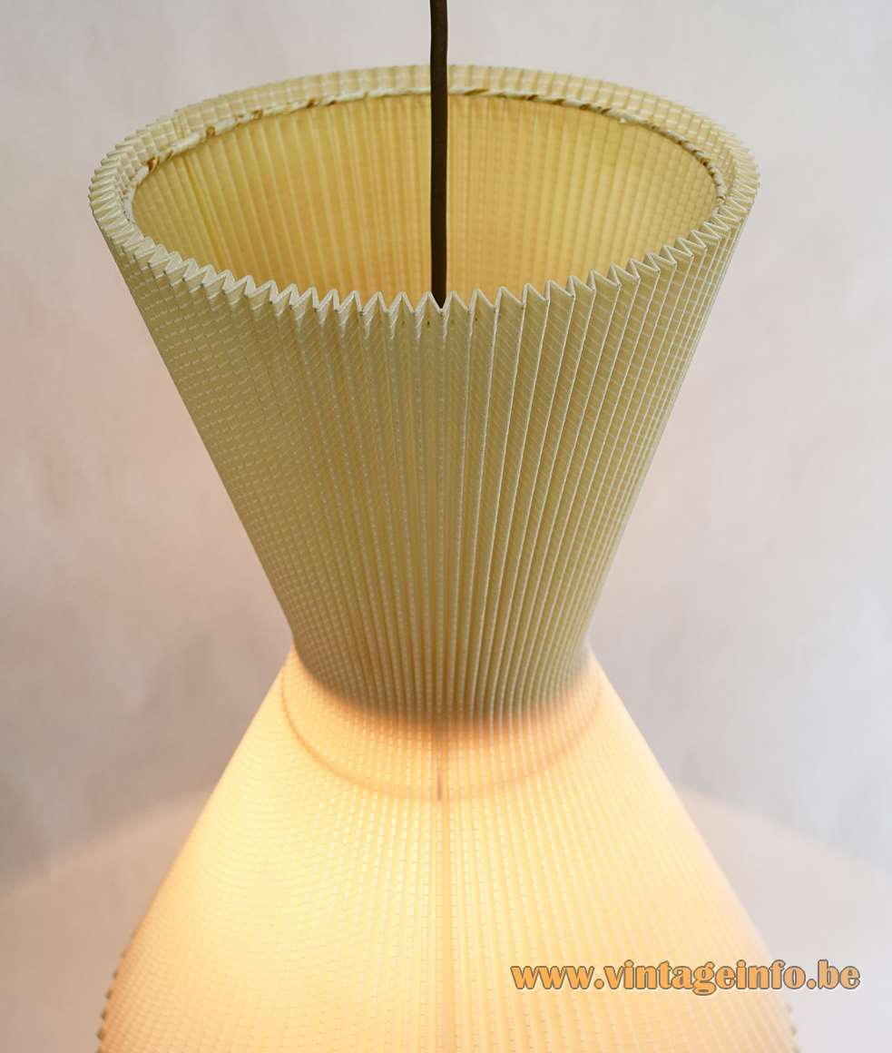 Diabolo pendant lamp beige folded cotton wrapped around steel wire frame 1950s 1960s Yo-Yo E27 socket
