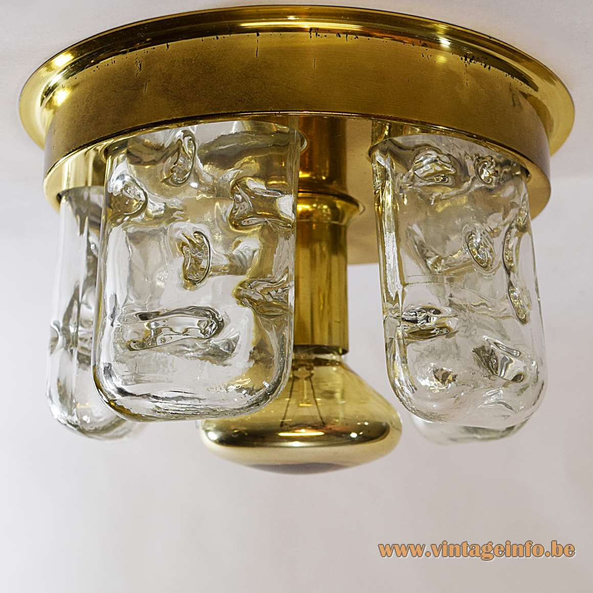 DORIA ice glass flush mount brass ring 5 glass blocks E27 lamp socket Mid-Century Modern Germany MCM