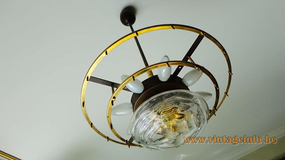 1960s DORIA Snowball Chandelier - Brass frame