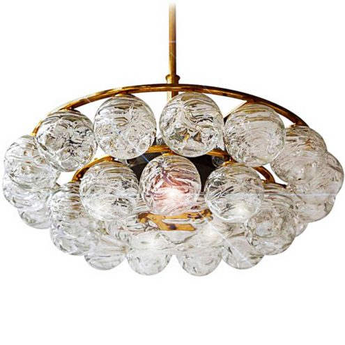 1960s DORIA snowball chandelier 27 swirled glass balls globes brass frame 1970s Germany MCM Mid-Century Modern