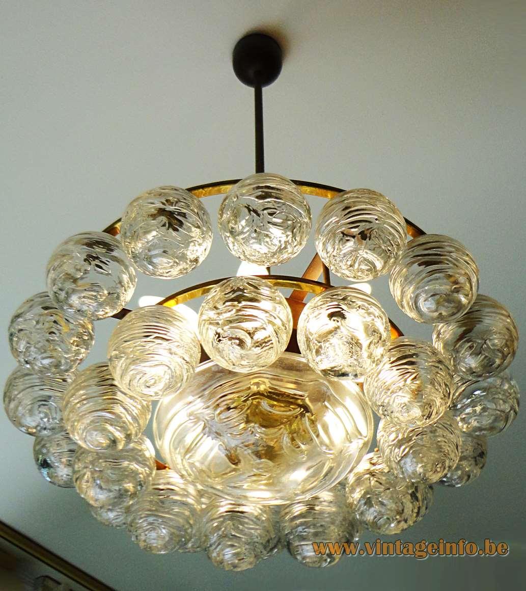 1960s DORIA snowball chandelier 27 swirled glass globes balls brass frame 1970s Germany vintage light
