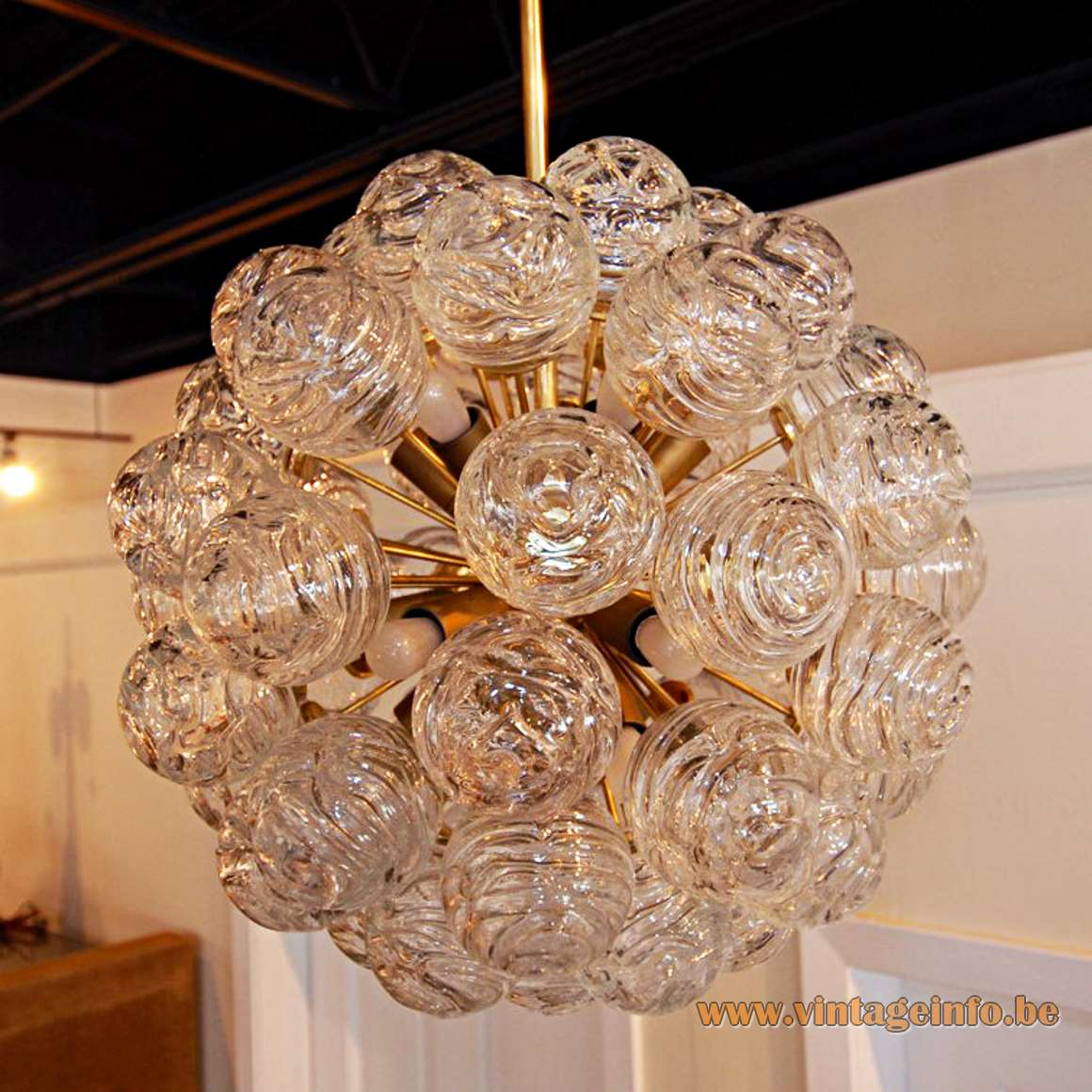 1960s Doria Snowball Sputnik Chandelier, Germany, swirled crystal glass balls, brass