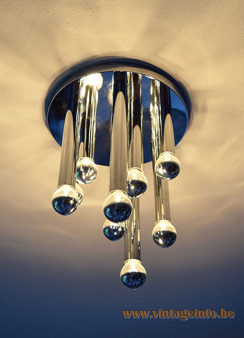 Chrome flush mount round ceiling mount 9 chrome tubes 9 E14 sockets silver cupped light bulbs