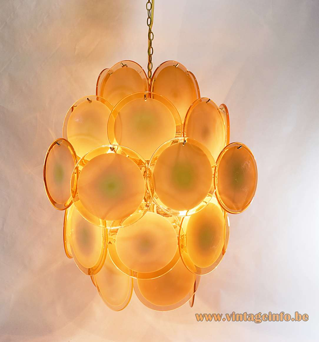 Gino Vistosi salmon pink discs chandelier 36 Murano glass dishes chrome wire frame Mazzega 1960s 1970s