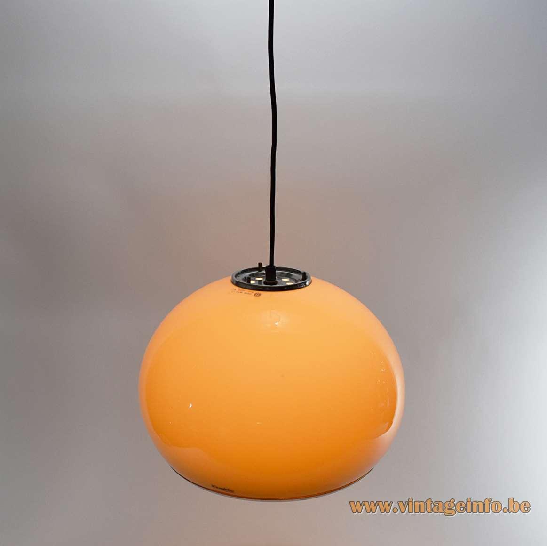 iGuzzini Bud pendant lamp brown acrylic globe design: 1968 Studio 6G Harvey Guzzini 1960s 1970s MCM