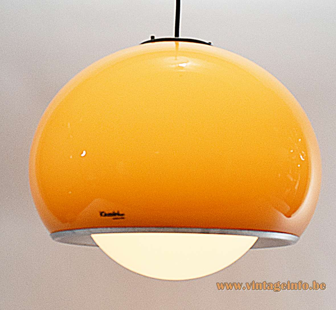 Harvey Guzzini Bud Pendant Lamp brown acrylic globe design: 1968 Studio 6G IGuzzini 1960s 1970s MCM
