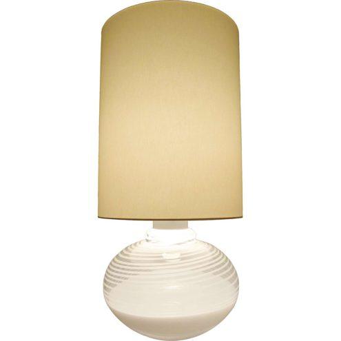 La Murrina Table Lamp 1970s Murano Italy stripes glass white hand blown Lino Tagliapietra