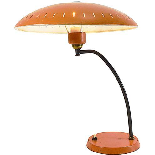 Louis Kalff Junior desk lamp black curved rod orange base mushroom lampshade Philips 1950s 1960s