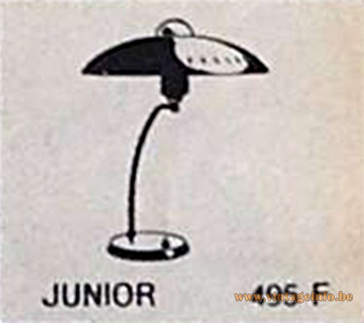Louis Kalff Junior Desk Lamp Philips aluminium perforated lampshade curved brass rod publicity catalogue