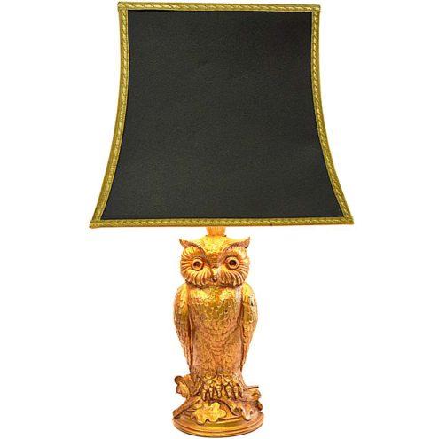 Owl table lamp gilded gold plated metal bird Loevsky & Loevsky USA black pagoda lampshade 1960s 1970s