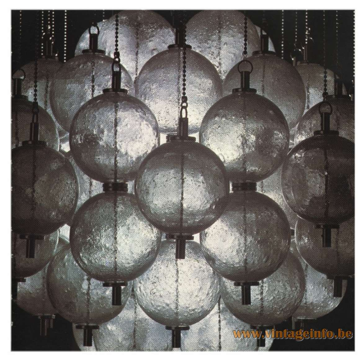 Raak Sterrenbeeld Ceiling Lamp flush mount round chrome plate chains glass balls/globes 1960s 1970s MCM - Catalogue picture