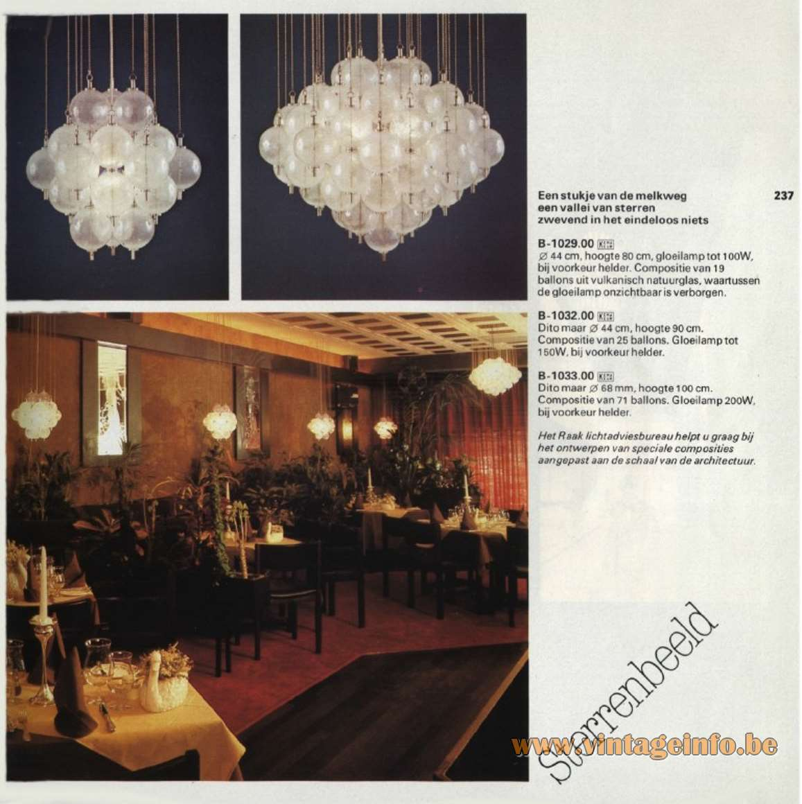 Raak Sterrenbeeld Ceiling Lamp, flush mount, hand blown clear glass balls, Catalogue picture