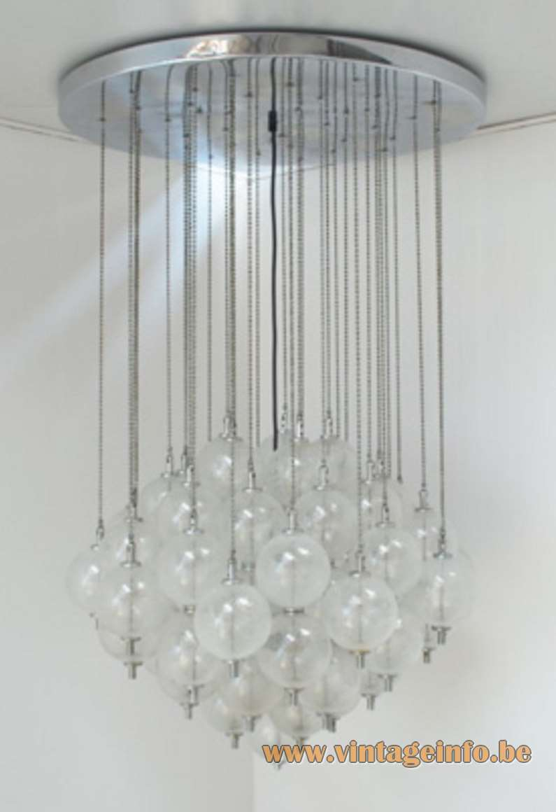 Raak Sterrenbeeld Ceiling Lamp flush mount round chrome plate chains glass balls/globes 1960s 1970s MCM