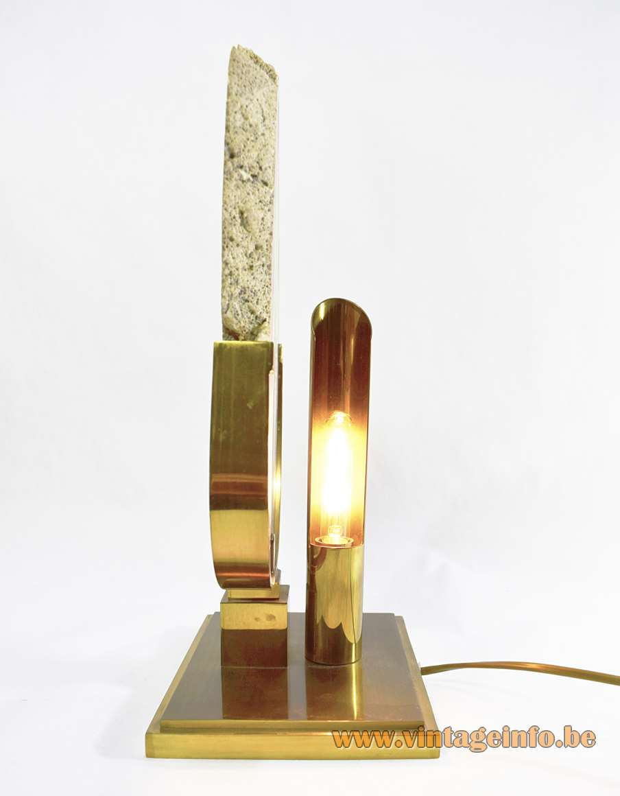 Agate geode table lamp rectangular brass base thick slice Willy Daro 1970s JLB Belgium vintage