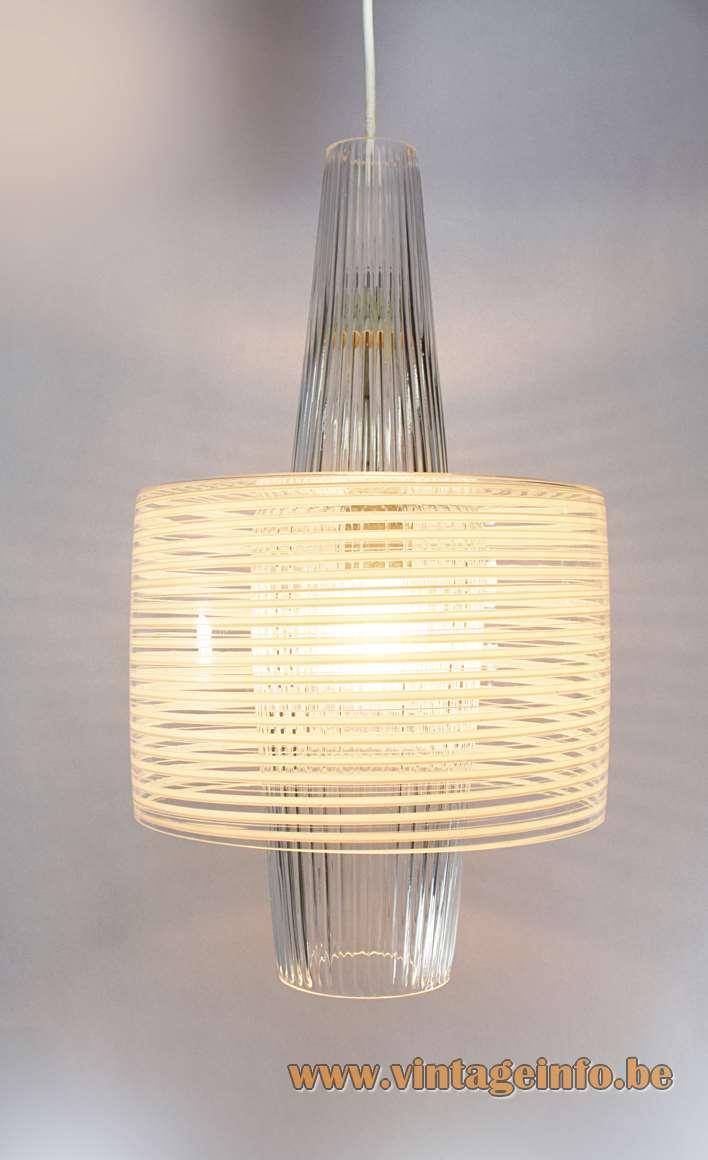Aloys Ferdinand Gangkofner pendant lamp Venezia white striped clear glass Peill Putzler Raak 1950s 1960s MCM