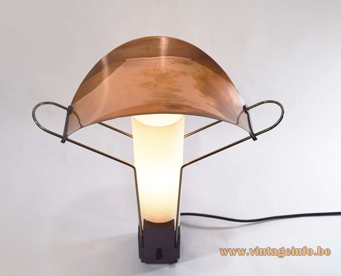 Arteluce Palio Table Lamp, Design Perry King, Santiago Miranda, 1984, opal glass, copper lampshade, FLOS