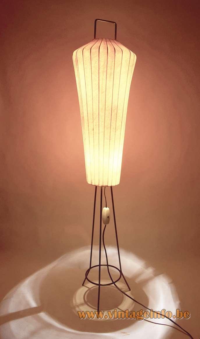 Artimeta Lugano tripod Cocoon floor lamp black metal tripod wire frame Cocoon plastic 1950s 1960s