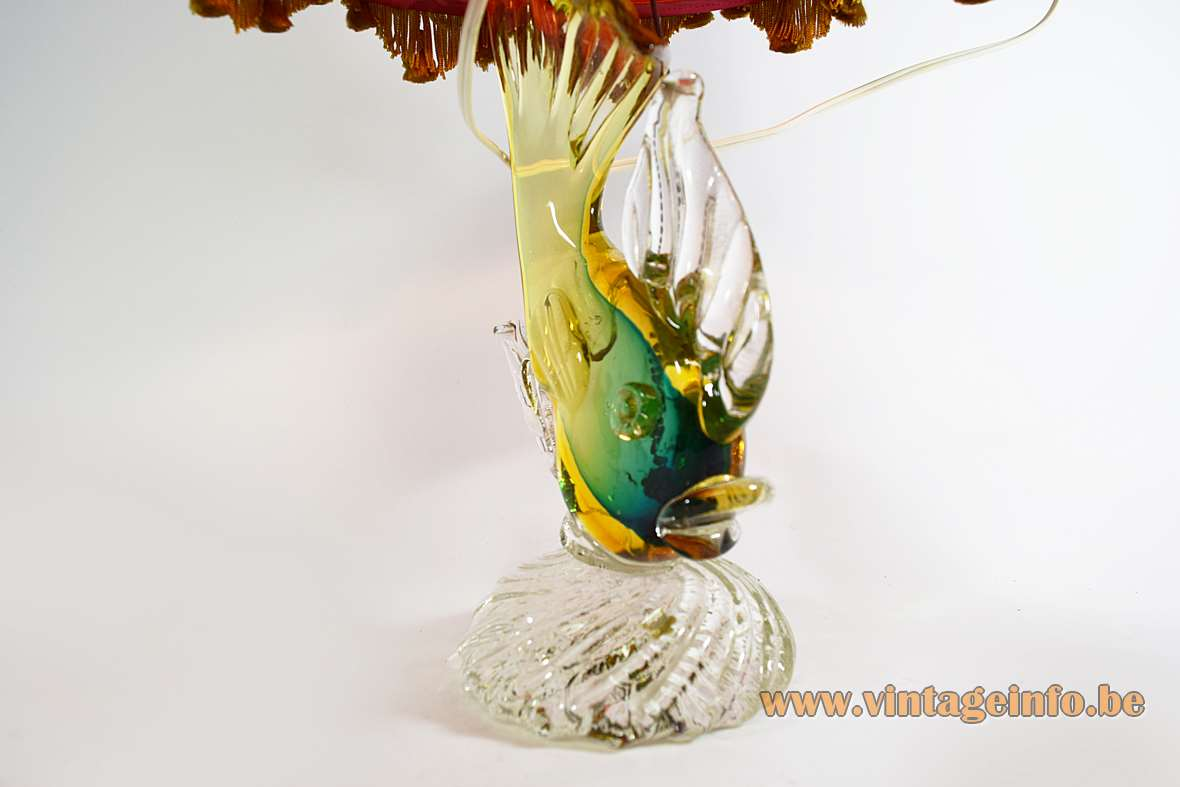 Artistica Murano glass fish table lamp in Sommerso with a red fabric lampshade 1950s 1960s Italy