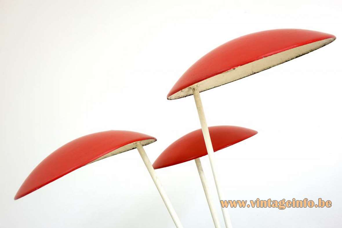 BEGA garden lamps Expo 58 Brussels red white metal mushroom lampshades outdoor iron 1950s 1960s Germany