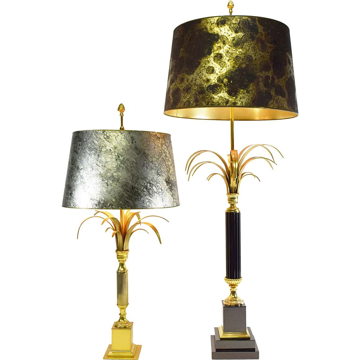 Boulanger Reed Table Lamps - long brass base