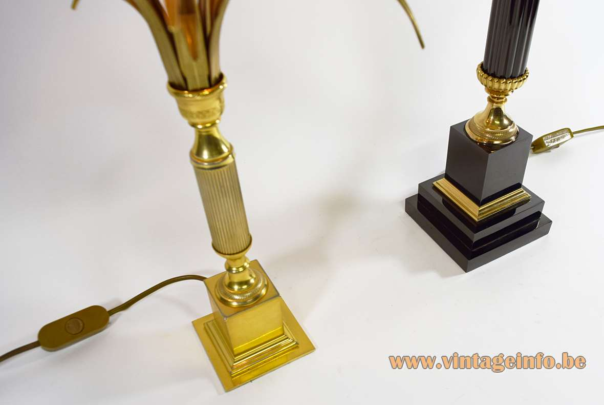 Boulanger reed palm table lamps square base handle rod brass chic Hollywood Regency 1970s 1980s Belgium