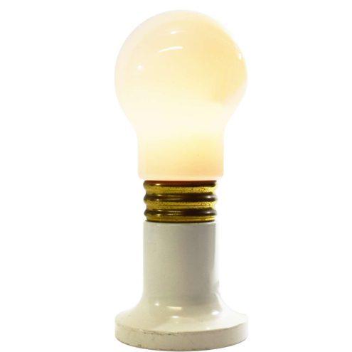 Bulb table lamp white round metal base brass ring opal glass globe lampshade 1960s 1970s E14 socket