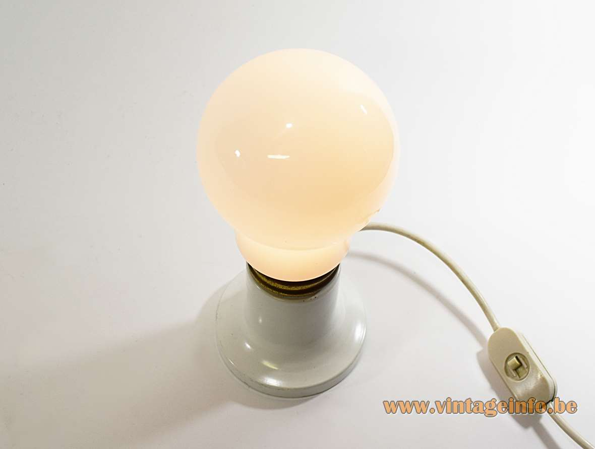 Bulb Table Lamp white painted round metal base brass ring opal glass globe 1970s metal socket MCM