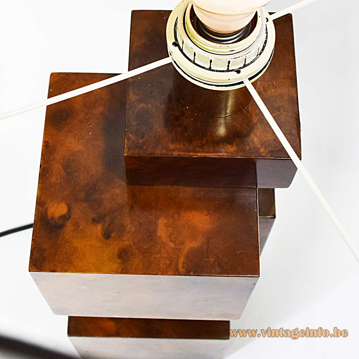 Burr Walnut Cityscape table lamp wood cubes geometric round lampshade 1960s 1970s MCM Italy